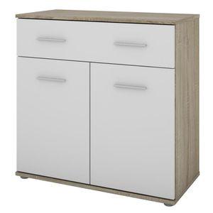 AGA Meuble de rangement contemporain décor sonoma et blanc - L 80 cm