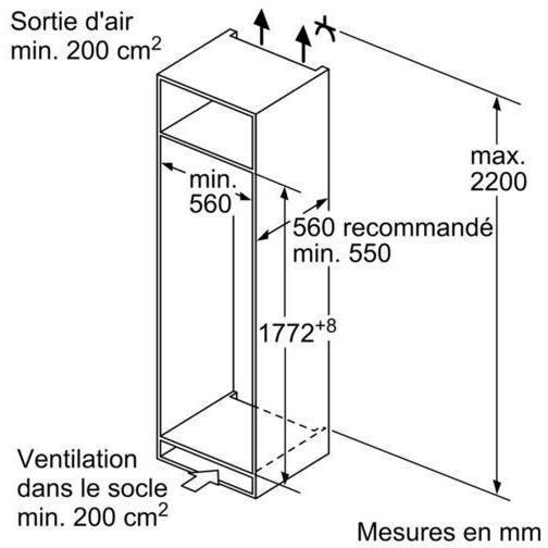 BOSCH KIL82VS30 - Réfrigérateur 1 porte encastrable - 286L - Froid statique - A++ - L 56cm x H 177,5