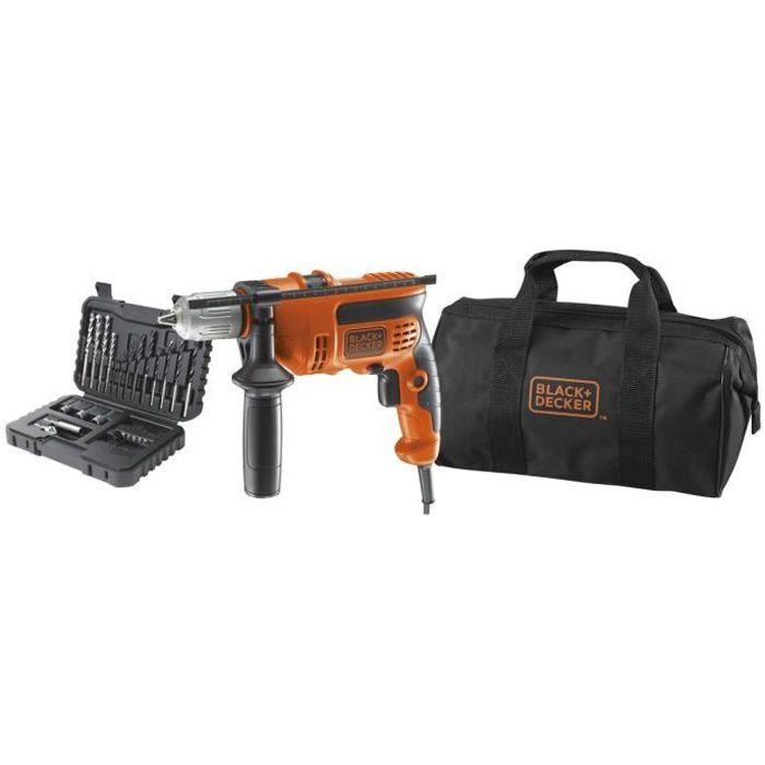 BLACK & DECKER Kit perceuse 710W avec 32 accessoires et sac