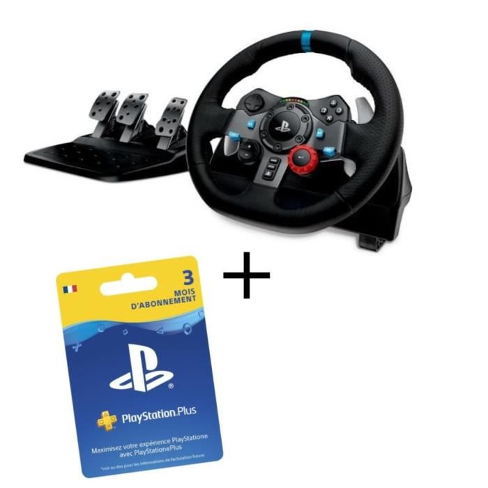 LOGITECH Volant G29 PS4 et PC + Abonnement Playstation Plus 3 Mois