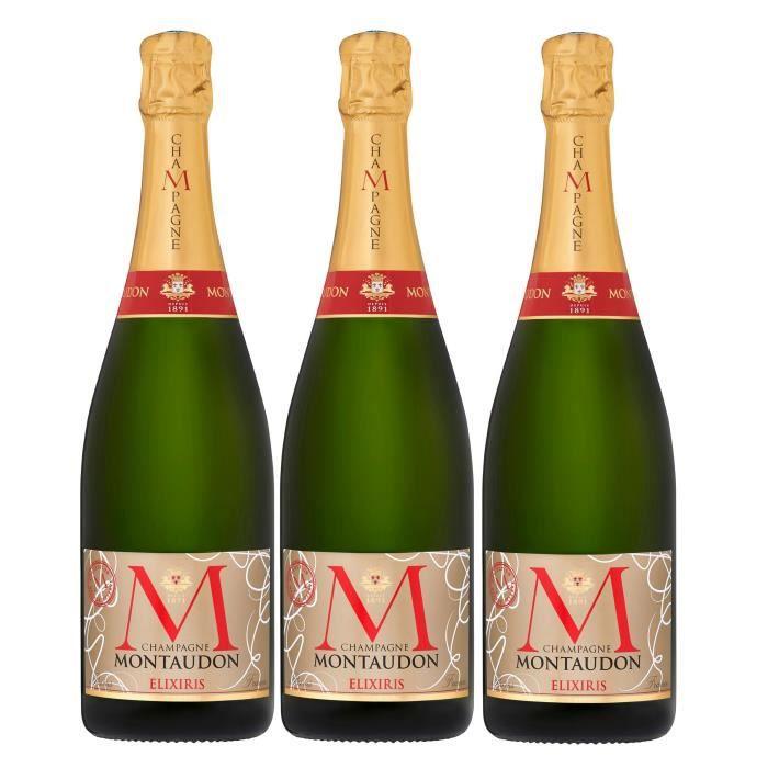 Champagne montaudon elixiris 75cl lot de 3