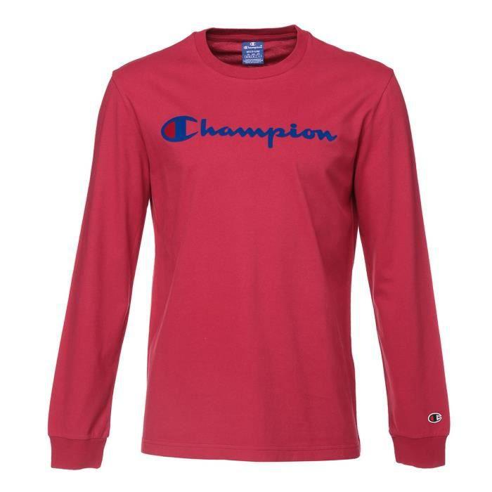 CHAMPION T-shirt manches longues - Homme - Rouge bordeaux
