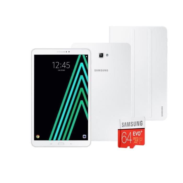 Pack SAMSUNG Galaxy Tab A6 SM-T580NZWAXEF - 10,1'' WUXGA - RAM 2Go - Android 6.0 - Octo Core - ROM 16Go - WiFi + Cover + Micro SD