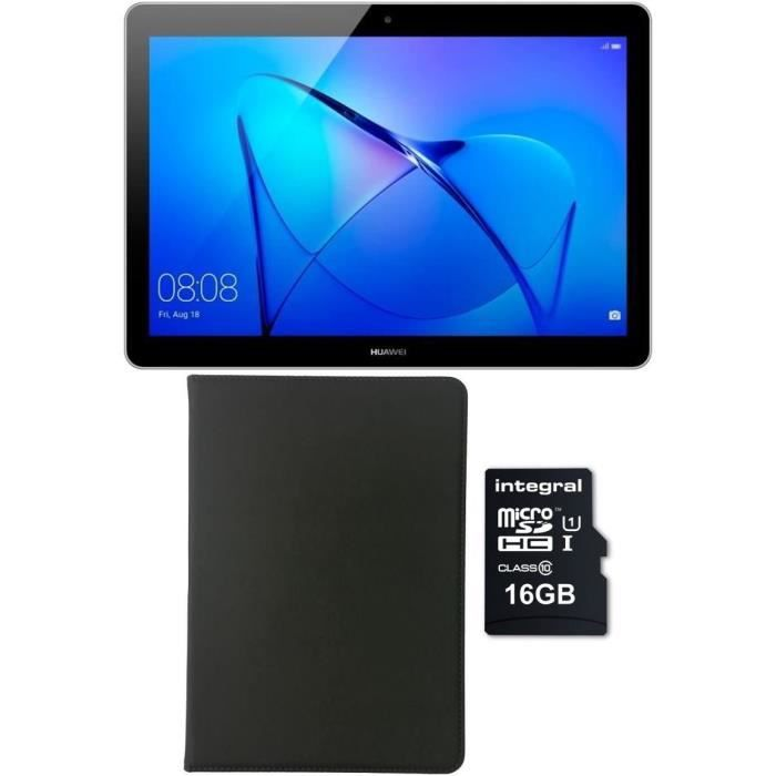 HUAWEI Tablette tactile MediaPad T3 10 - 9,6 pouces HD - RAM 2Go - Qualcomm MSM8917 - Stockage 16Go - Android 7 + Etui + Micro SDHC