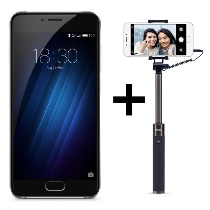 Meizu U10 Noir 16 Go + Perche Selfie