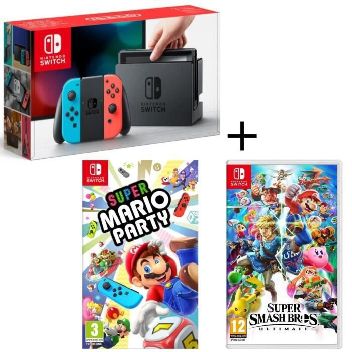 Pack Console Nintendo Switch Néon + Super Smash Bros Ultimate + Super Mario Party