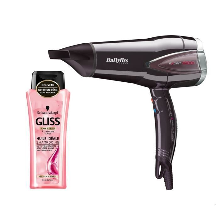 Pack : BABYLISS Sèche-Cheveux Expert Protect D362E + GLISS Shampooing Cheveux Normaux - Huile Idéale