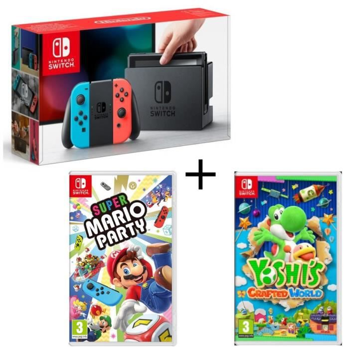 Pack Nintendo Switch Néon + Yoshi's : Crafted World + Super Mario Party
