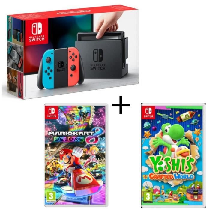 Pack Nintendo Switch Néon + Yoshi's : Crafted World + Mario Kart 8 Deluxe