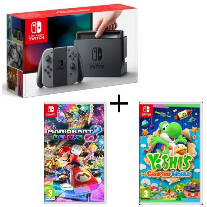 Pack Nintendo Switch Grise + Yoshi's : Crafted World + Mario Kart 8 Deluxe