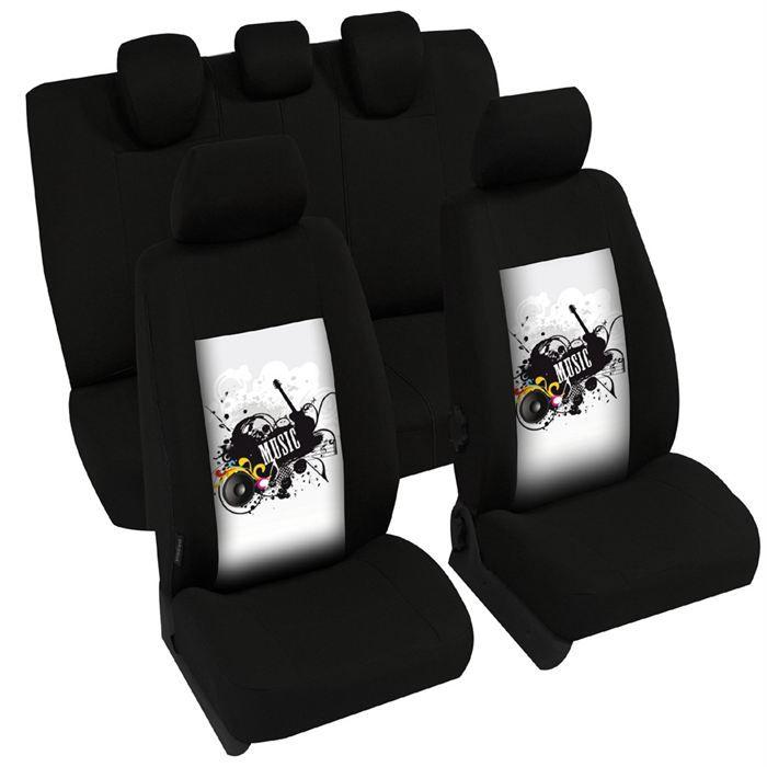 HOUSSE STANDARD TUA ZIP MUSIC - équipement 2 sièges avants + 2 appuis-tête arrières des dossiers avants houssés équipement banquette arrière 1 dossierHOUSSE DE SIEGE - COUVRE SIEGE