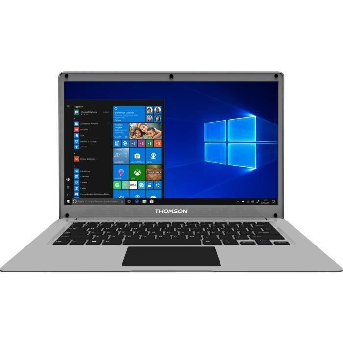 """THOMSON PC Portable - 14"""" HD - Celeron - RAM 4Go - Double Stockage 64Go+500Go HDD - Windows 10S"""