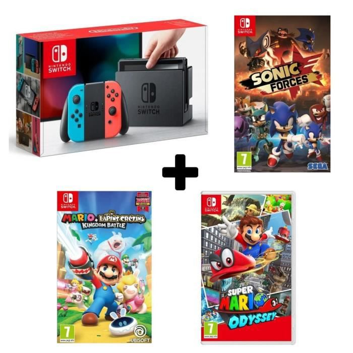 Console nintendo switch avec joy cons néons super mario odyssey mario the lapins crétins sonic forces
