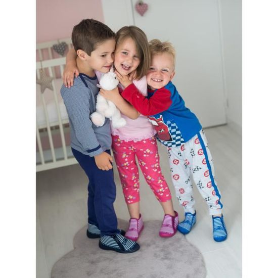 BEONLY Chaussons Timousson ZIP - Enfant Fille - Rose P3XCPFapTE