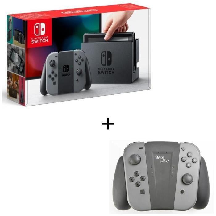 Console nintendo switch avec paire de joy con gris support de recharge pour joycon