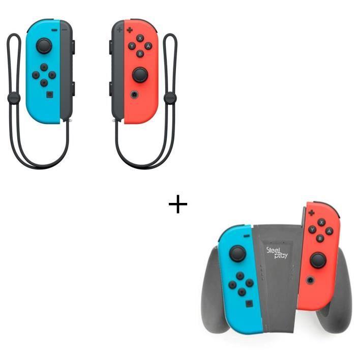 Manettes Joy-Con Bleu Néon / Rouge Néon + Support de recharge pour Joycon Console Switch