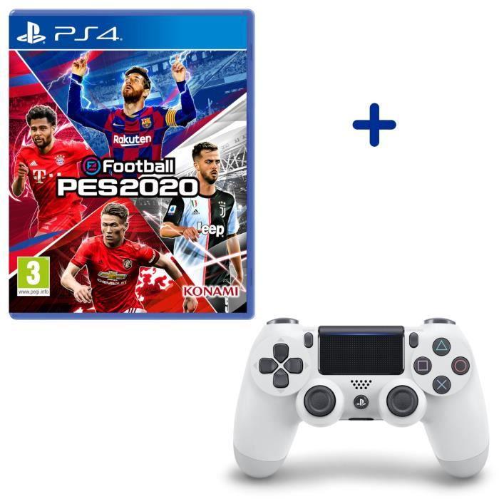 Pack PlayStation : eFootball PES2020 + Manette Dualshock Glacier White