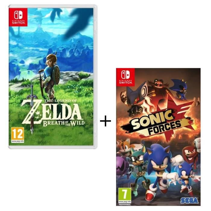 Pack de 2 jeux nintendo switch the legend of zelda breath of the wild sonic forces