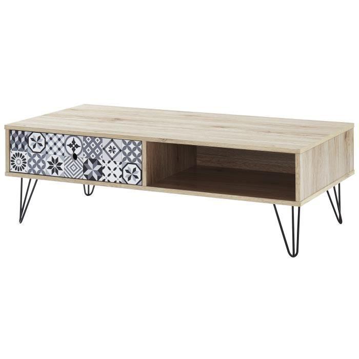COLETTE Table basse vintage décor chêne - L 110 x l 55 cm