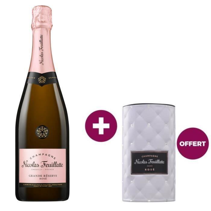 Champagne nicolas feuillatte grande réserve rosé 75 cl 1 rafraîchisseur offert