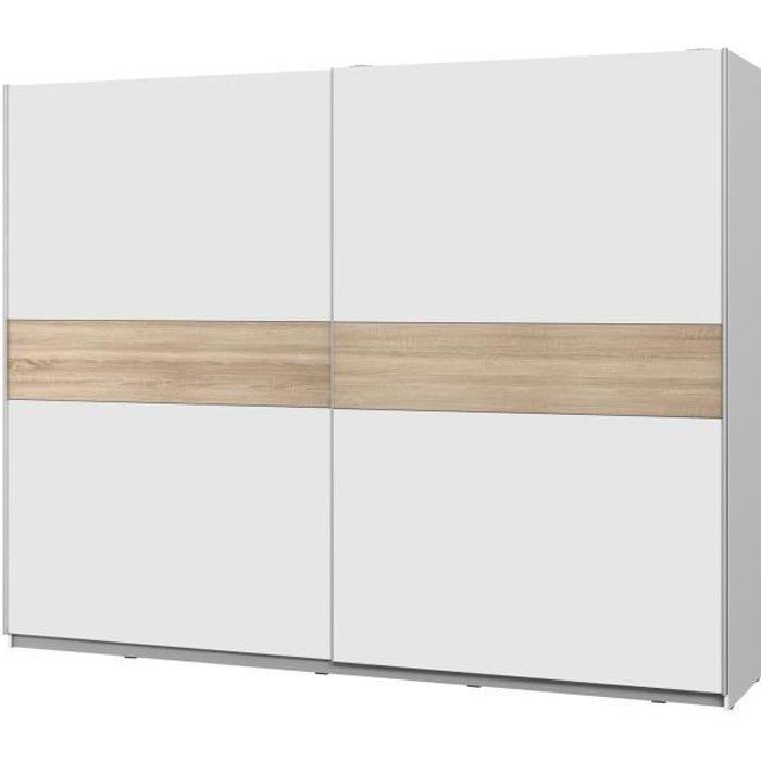 ATOS Armoire 2 portes coulissantes - Blanc mat et décor chêne - L 269,9 x P 61,2 x H 209,7 cm