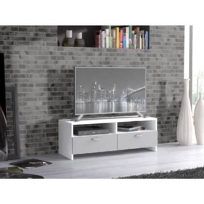 Panneaux de particules blanc et gris - L 95 x P 34,6 x H 35,8 cm - 2 abattants - 2 nichesMEUBLE TV - MEUBLE HI-FI