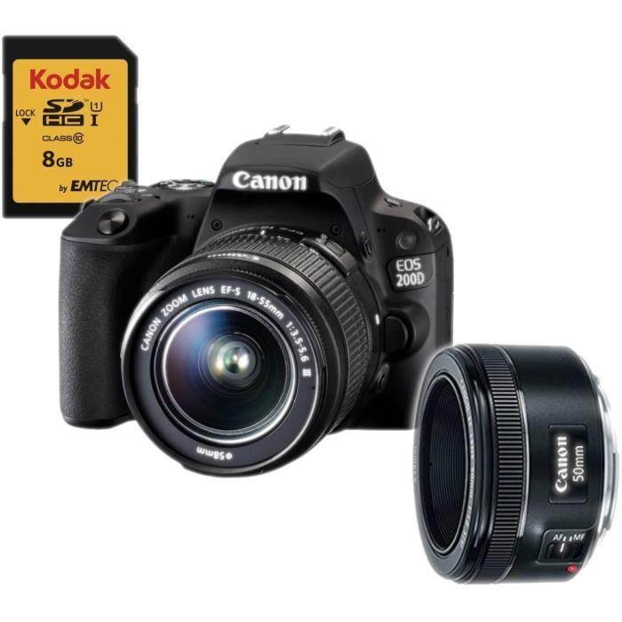 CANON EOS 200D Appareil photo numérique reflex + Objectif EF-S 18-55mm + Carte 8 Go