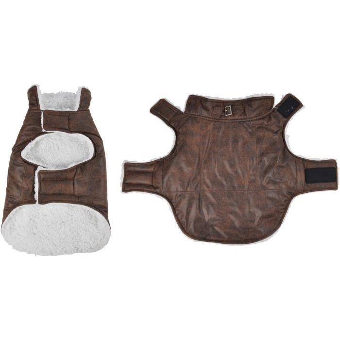 Manteau John - Polyester double polaire - 30 cm - Chocolat - Pour chien