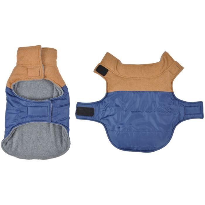 Manteau Jude - Polyester double polaire - 30 cm - Bleu/Camel - Pour chien