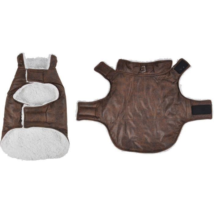 Manteau John - Polyester double polaire - 35 cm - Chocolat - Pour chien