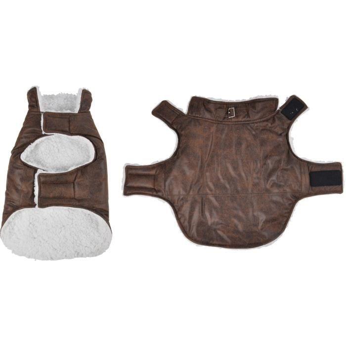 Manteau John - Polyester double polaire - 40 cm - Chocolat - Pour chien