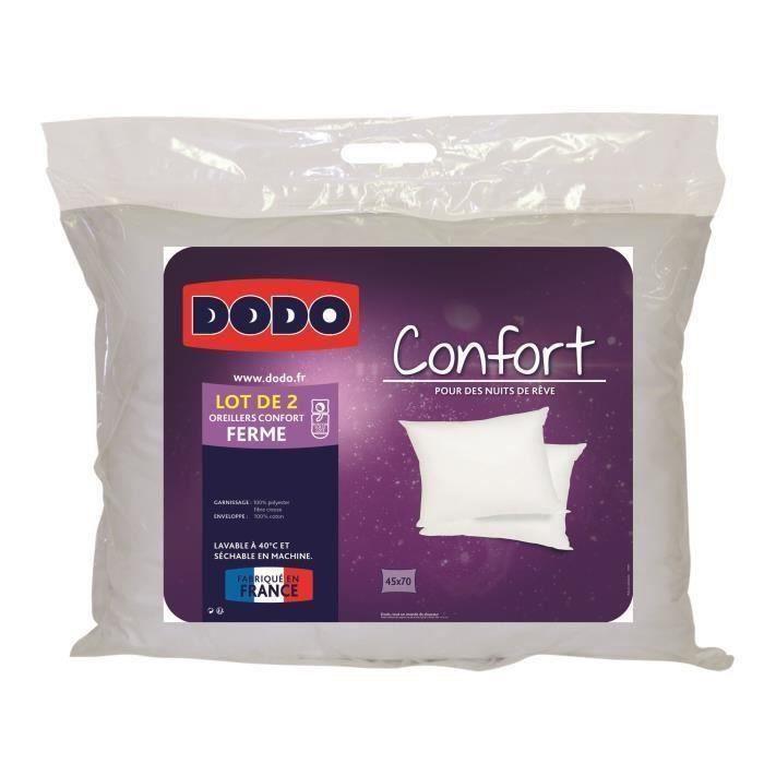 DODO Lot de 2 Oreillers 100% coton Confort 45x70 cm blanc