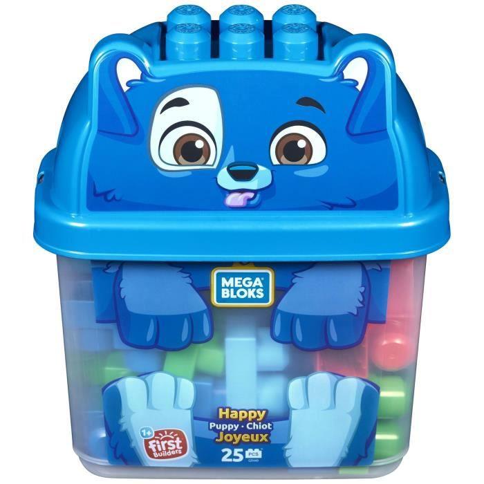 MEGA BLOKS - Boîte Puppy - Briques de construction - coffre Puppy 25 blocs - 12 mois et +