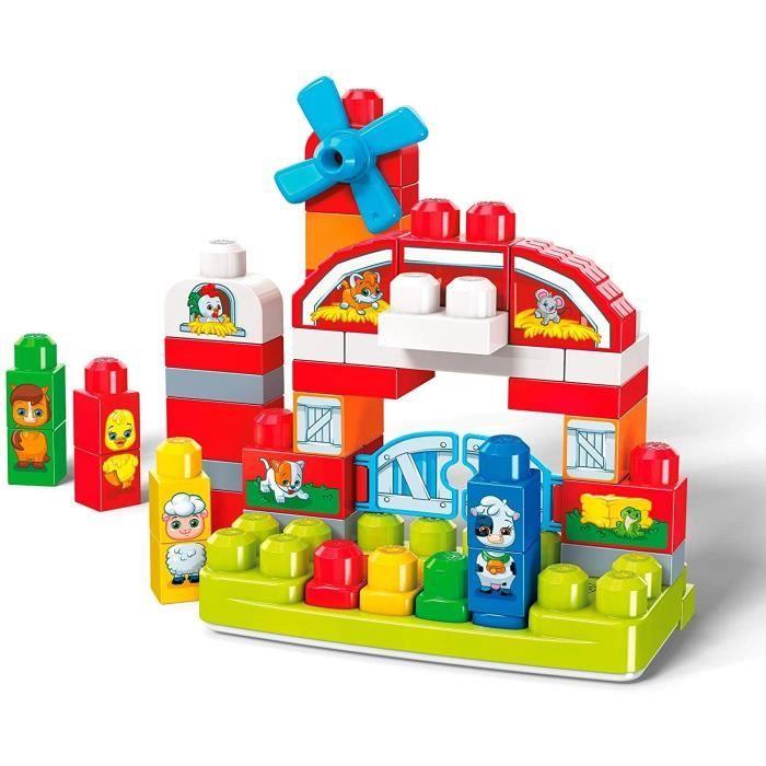MEGA BLOKS - Ferme Musicale - Briques de construction - 46 blocs imprimés animaux - 12 chansons & bruits d'animaux - 12 mois et +