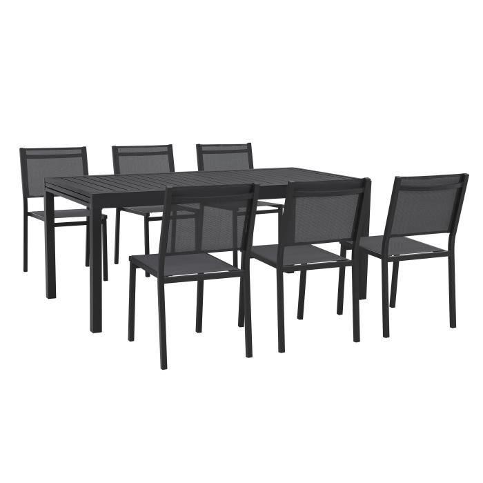 Ensemble repas de jardin 6 personnes - Table extensible 180/240x90cm et 3 lots de 2 chaises Aluminiu