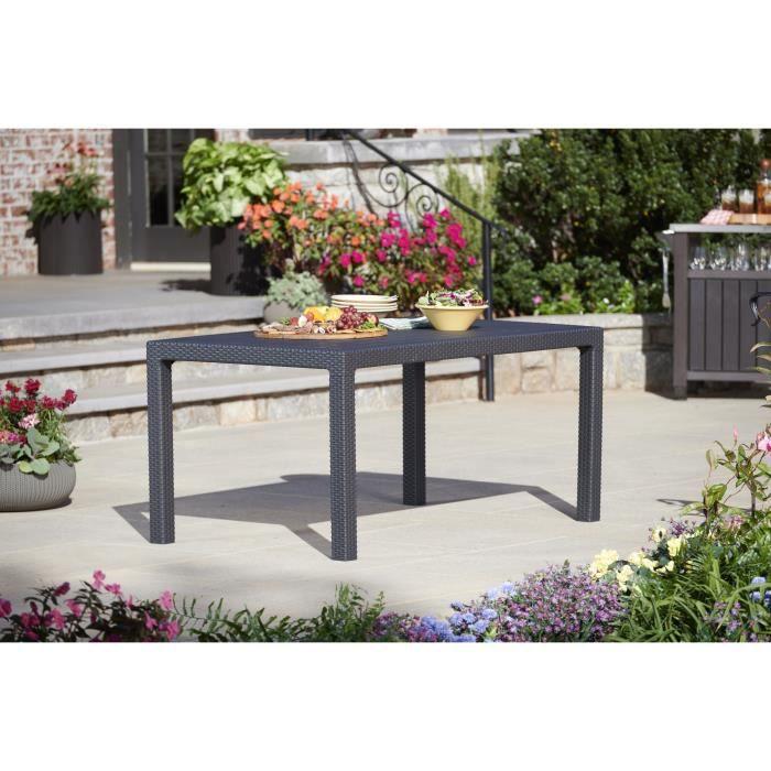 KETER Table de jardin 6 places Melody imitation résine tressée - 160x94x74 cm - Graphite