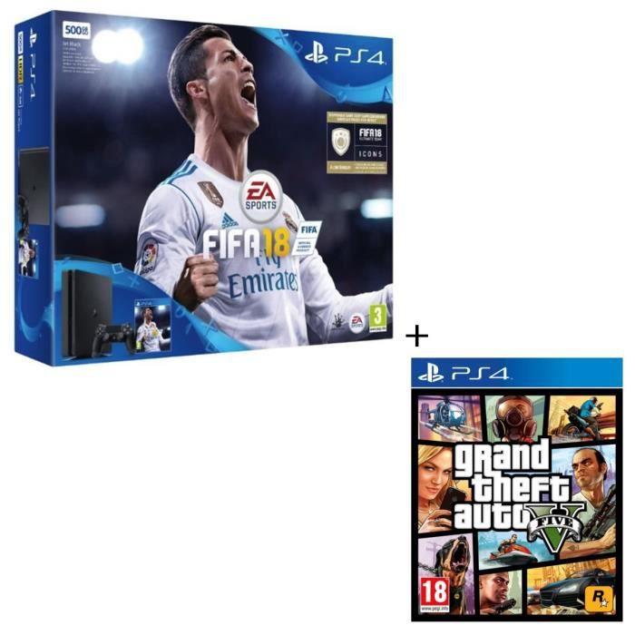 Pack console Nouvelle PS4 500 Go + 2 Jeux PS4 : FIFA 18 + GTA V