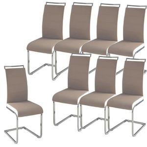 DYLAN Lot de 8 chaises salon taupe blanc
