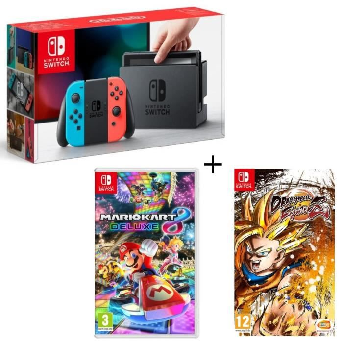 Pack nintendo switch néon dragon ball fighterz code in a box mario kart 8 deluxe