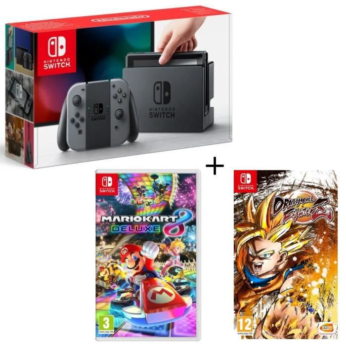Pack nintendo switch grise dragon ball fighterz code in a box mario kart 8 deluxe