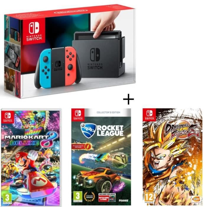 Pack nintendo switch néon dragon ball fighterz code in a box mario kart 8 deluxe rocket league