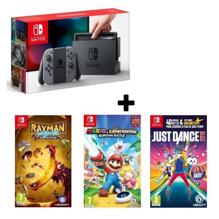 Console nintendo switch néon 3 jeux just dance 2018 rayman legends mario the lapins crétins kingdom battle