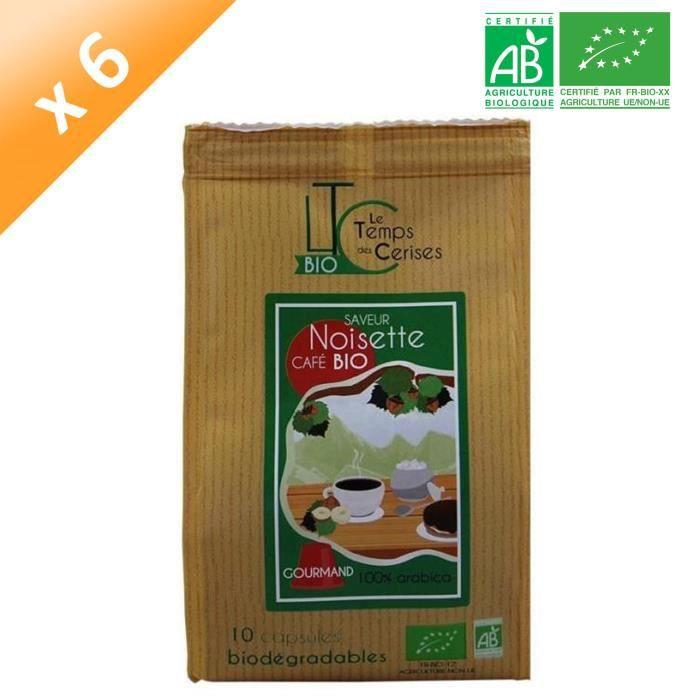 LE TEMPS DES CERISES Café BIO saveur Noisette 10 capsules - Compatible Nespresso® - 50 G x6