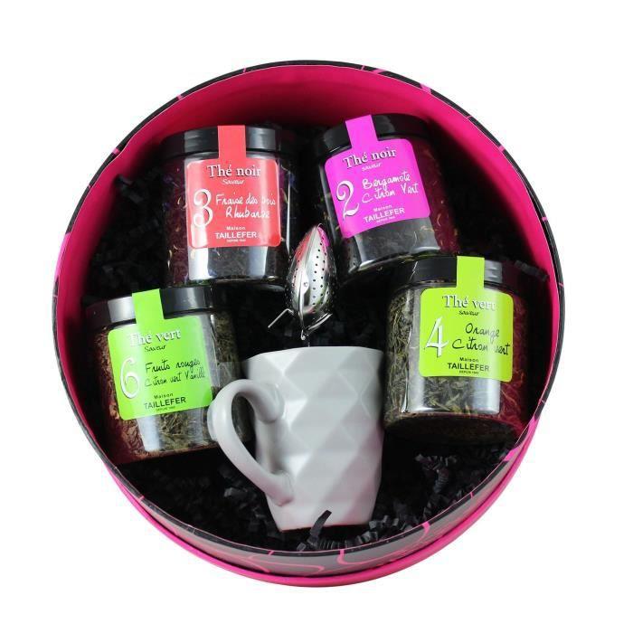 MAISON TAILLEFER Coffret Thé - Avec mug en verre et cuillère à thé - Boîte ronde