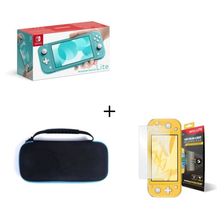 Nintendo switch lite turquoise housse switch lite verre anti lumière bleue switch lite