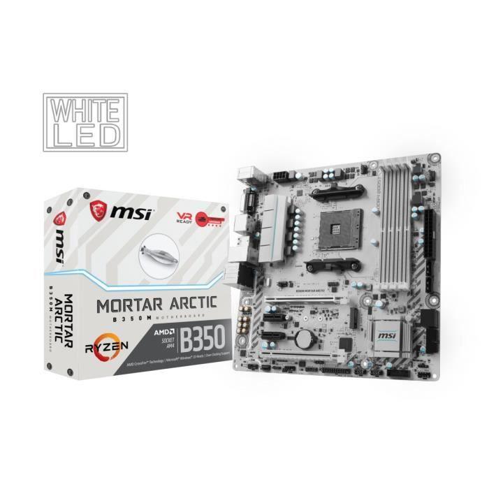 MSI Carte mère B350M MORTAR ARCTIC - Socket AM4 - DDR4 - 3200+ (OC) MHz  - B350M MORTAR ARCTIC