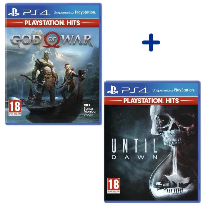 Pack 2 Jeux PS4 PlayStation Hits : God of War + Until Dawn