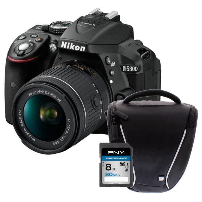 NIKON D5300 + AF-P 18-55VR Appareil photo reflex avec objectif Noir + Carte 8Go + Sacoche