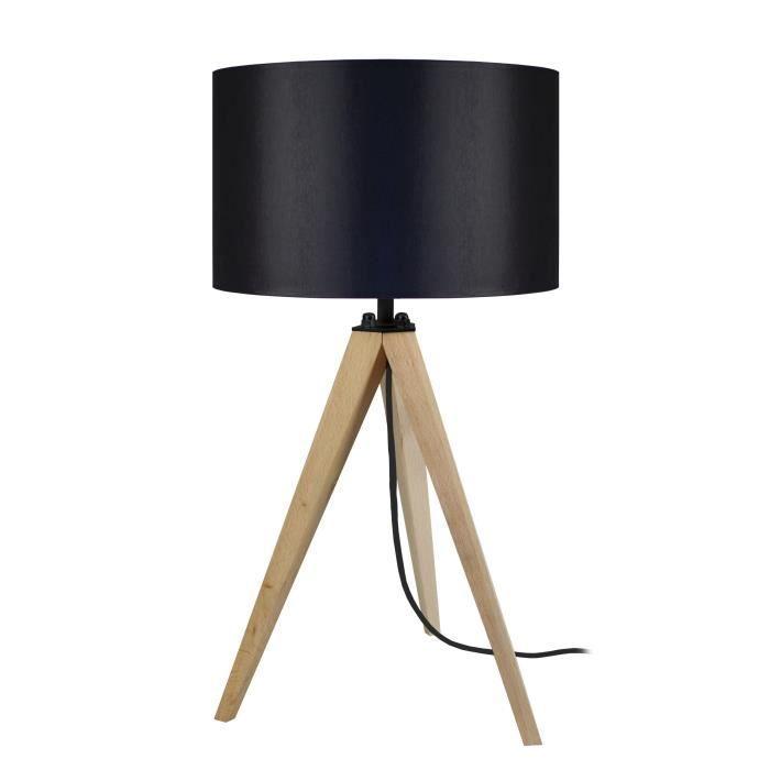 IDUN Lampe à poser en bois naturel - Ø30 x H.56 cm -...