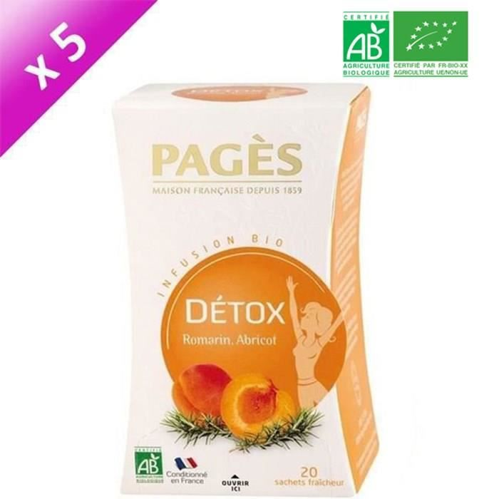 PAGES Lot de 5 Infusions Detox Bio